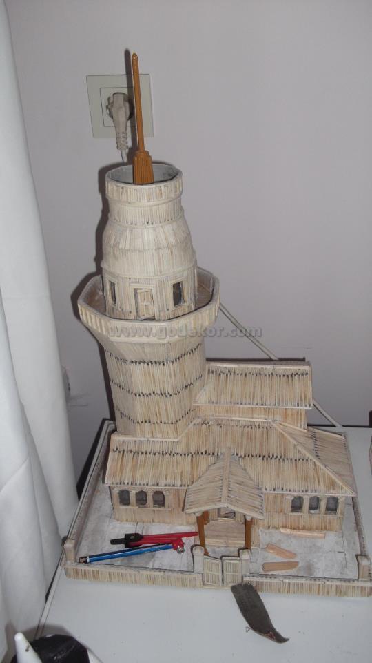 Kibritle yapılmış kız kulesi