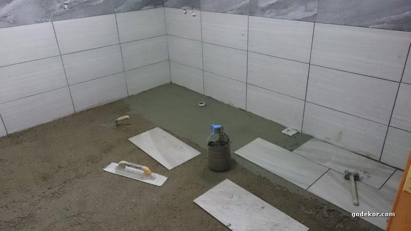 Banyo zemin döşenirken.