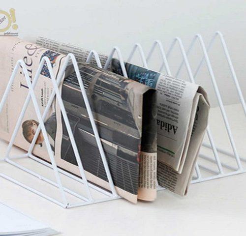 Üçgen 9 Gözlü Metal Masaüstü Dergilik Gazetelik, Plaklı ve Kitaplık