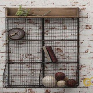 Rüstik 5 Gözlü Telli Çok Amaçlı Antik Mutfak Baharat Rafı