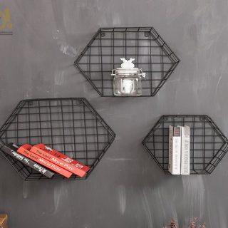 Altıgen 3'lü Metal Telli Duvar Çiçekliği, Duvar Rafı