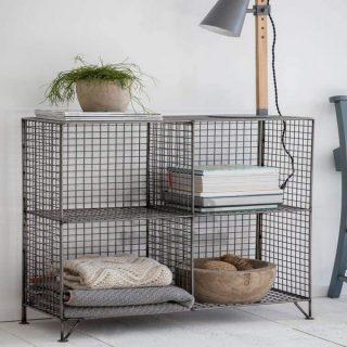 Metal 4 gözlü Orta Boy Grid (Kafes) Kitaplık Rafı & Kafes Tel Vitrin