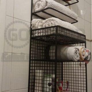 Rüstik Kafes Banyo ve Mutfak Duvar Rafı (İkili Havluluk)