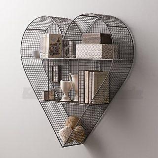 Kalpli 14 Şubat Raf Modeli, Tel Kafes Duvar Rafı - Siyah