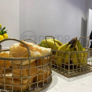 Yuvarlak Tel Çok Amaçlı Sevimli Ekmek Sepeti (MAT GOLD)